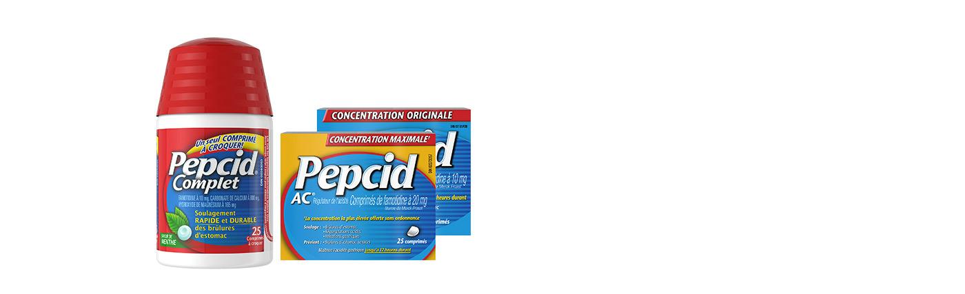 Emballages de Pepcid Complet, de Pepcid AC Concentration originale et de Pepcid AC Concentration maximale