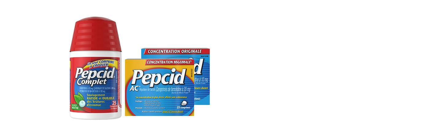 Emballages de Pepcid Complet, de Pepcid AC Concentration originale et de Pepcid AC Concentration maximale