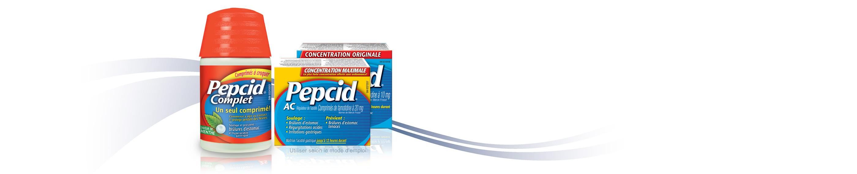 Pepcid Complet et Pepcid AC concentration maximale