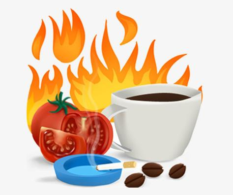 Sliced tomatoes, brewed coffee and beans, a resting lit cigarette