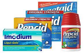 Produits Pepcid, Imodium et Lactaid pour soulager les problèmes digestifs
