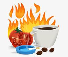 Things that cause heart burn such as cigarettes, tomatoes and coffee