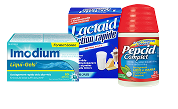 Imodium Liqui-Gels, Lactaid Action rapide et Pepcid Complet packaging