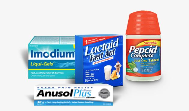 Lactaid, Immodium, Pepsid complet et Anusol Plus package