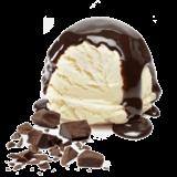 vanilla ice cream with chocolate and hot fudge